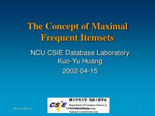 The Concept of Maximal Frequent Itemsets