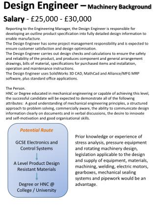 Potential Route GCSE Electronics and Control Systems A Level Product Design  Resistant Materials
