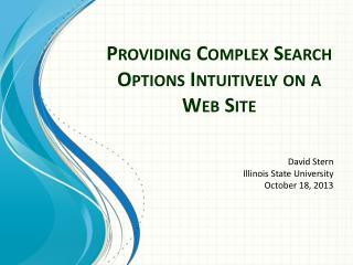 Providing Complex Search Options Intuitively on  a  Web Site