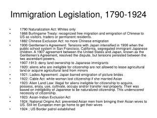 Immigration Legislation, 1790-1924