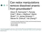 Can redox manipulations remove dissolved arsenic from groundwater