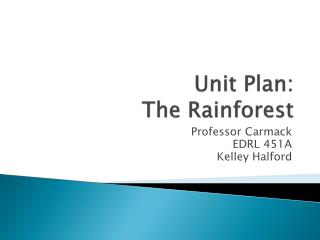 Unit Plan: The Rainforest