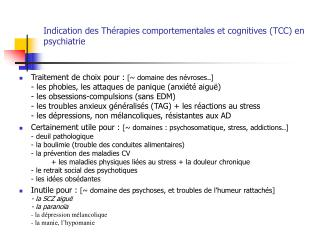 Indication des Th rapies comportementales et cognitives TCC en psychiatrie