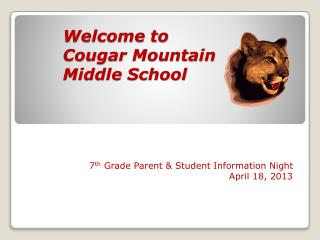 Welcome to Cougar Mountain Middle School