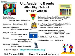 UIL Academic Events Allen High School 9 th -12 th  Grades