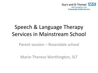 Speech & Language Therapy Services in Mainstream School