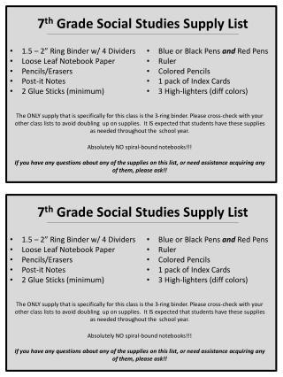 7 th  Grade Social Studies Supply List