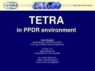TETRA in PPDR environment