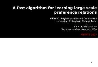 A fast algorithm for learning large scale  preference relations