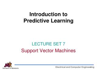 Introduction to  Predictive Learning