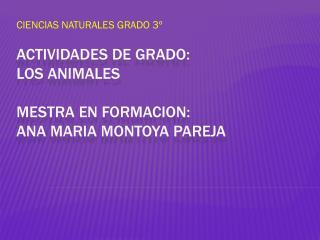 Actividades de grado: LOS ANIMALES MESTRA EN FORMACION: ANA MARIA MONTOYA PAREJA