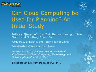 Can Cloud Computing be Used for Planning? An Initial Study
