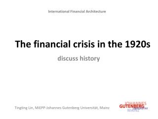 The financial crisis in the 1920s