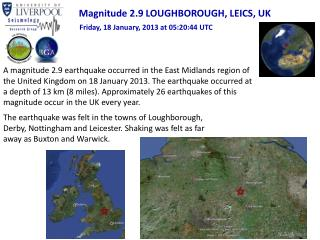 Magnitude 2.9 LOUGHBOROUGH, LEICS, UK