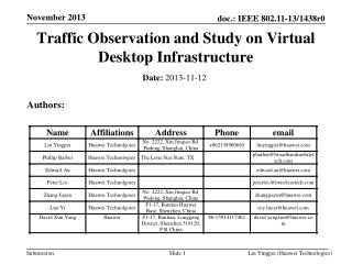 Traffic Observation and Study on Virtual Desktop Infrastructure