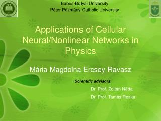 Applications of Cellular Neural/Nonlinear Networks in Physics
