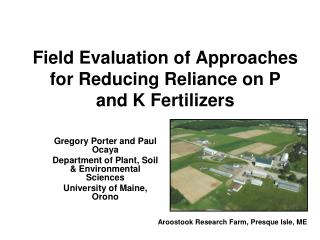 Field Evaluation of Approaches for Reducing Reliance on P and K Fertilizers