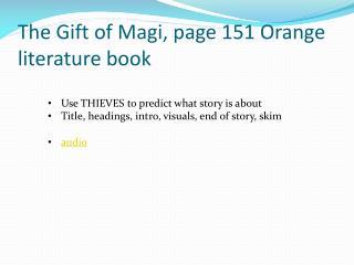 The Gift of Magi, page 151 Orange literature book