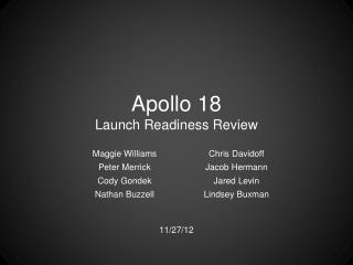 Apollo  18 Launch  Readiness Review