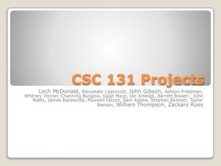 CSC 131 Projects
