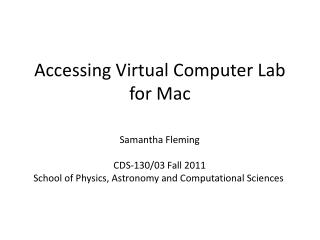 Accessing Virtual Computer Lab for Mac