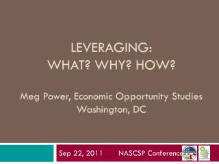 LEVERAGING:  WHAT? WHY? HOW? Meg Power, Economic Opportunity Studies Washington, DC