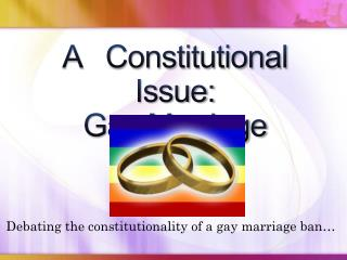 A   Constitutional   Issue: Gay Marriage