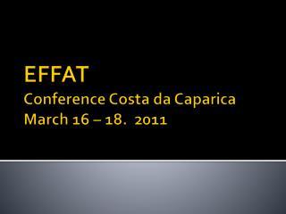 EFFAT Conference  Costa da  Caparica March 16 – 18.  2011