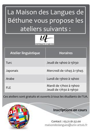 La Maison des Langues de B�thune vous propose les ateliers suivants :