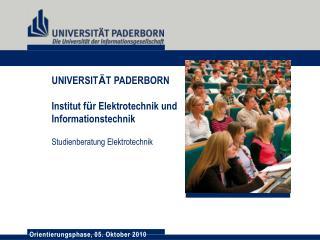 UNIVERSIT Ä T  PADERBORN Institut f ü r Elektrotechnik und Informationstechnik