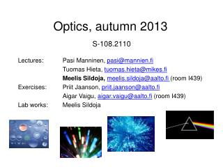Optics , autumn  2013