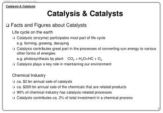 Catalysis  Catalysts