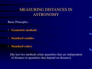 MEASURING DISTANCES IN ASTRONOMY