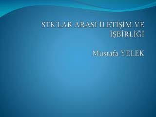 STK'LAR ARASI İLETİŞİM VE  İŞBİRLİĞİ Mustafa YELEK