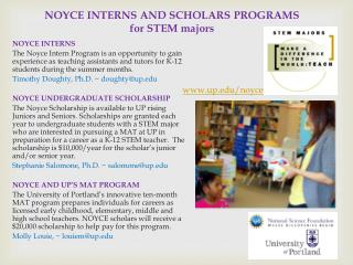 NOYCE INTERNS AND SCHOLARS PROGRAMS for STEM majors