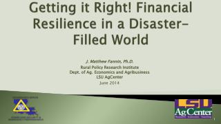 Getting it Right! Financial Resilience in a Disaster-Filled  World