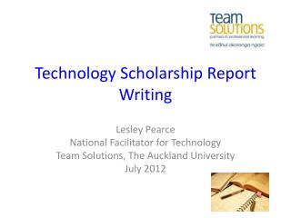 Technology Scholarship Report  W riting