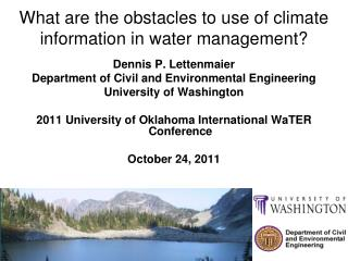 What are the obstacles to use of climate information in water management?