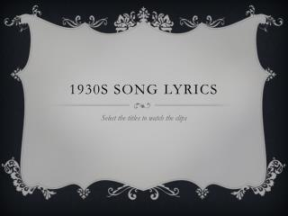 1930s Song Lyrics
