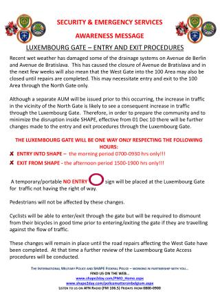SECURITY & EMERGENCY SERVICES AWARENESS MESSAGE