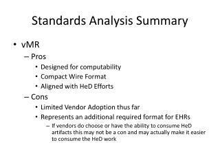 Standards Analysis Summary