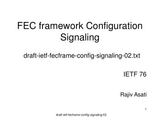 FEC framework Configuration Signaling