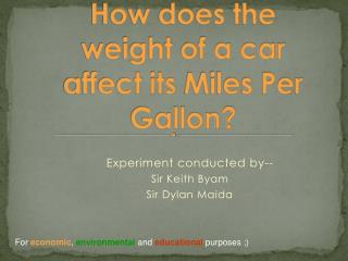 How does the weight of a car affect its  Miles Per Gallon?