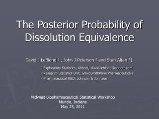 The Posterior Probability of Dissolution Equivalence