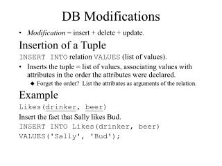 DB Modifications