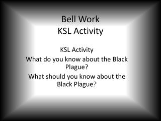 Bell Work KSL Activity