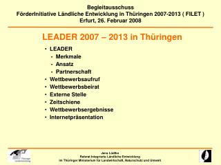 LEADER 2007 – 2013 in Thüringen