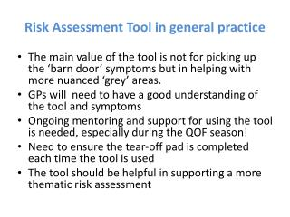 Risk Assessment Tool in general practice