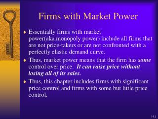 Firms with Market Power