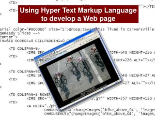 Using Hyper Text Markup Language to develop a Web page